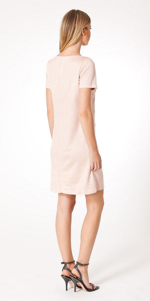 Pale Pink Short Sleeve Filigree Faux Suede Dress