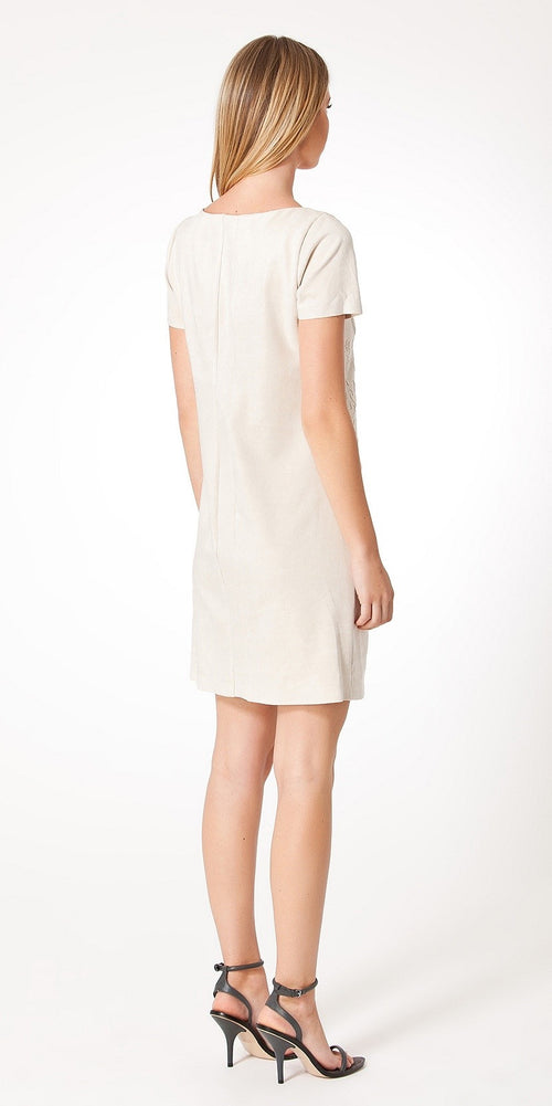 Ivory Short Sleeve Filigree Faux Suede Dress