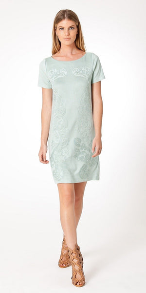 Pale Blue Green Short Sleeve Filigree Faux Suede Dress