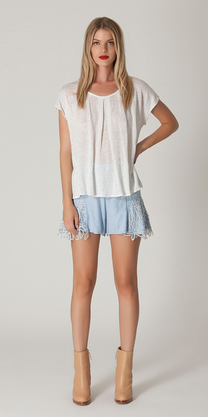 Ivory Lace Crochet Swing T Shirt