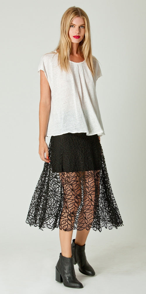 A Line Lace Midi Skirt