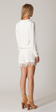 Long Sleeve White Lace Twill Romper Shorts