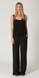 Black Lace Trimmed Twill Jumpsuit