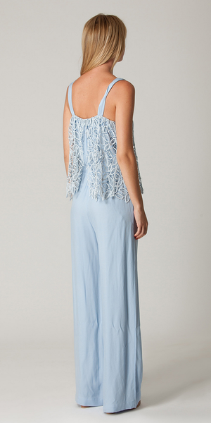 Blue Lace Trimmed Twill Jumpsuit