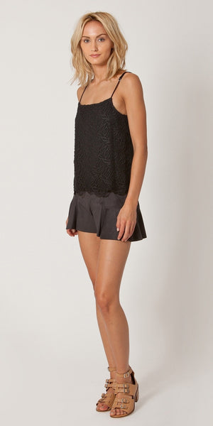 Black Pleated Suede Skort Shorts