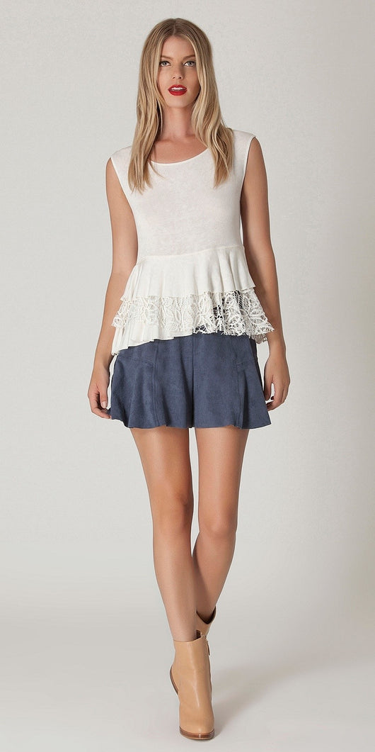 Blue Pleated Suede Skort Shorts