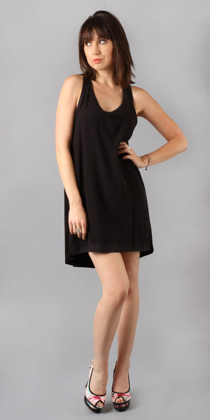 Sleeveless Black Bubble Gauze Shift Dress