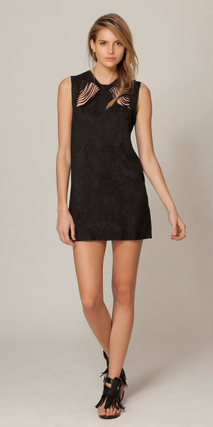 Sleeveless Black Suede Dress