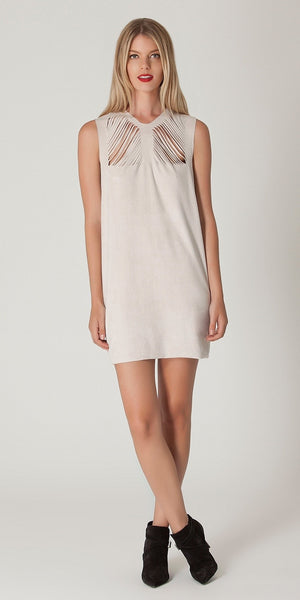 Sleeveless Ivory Suede Dress