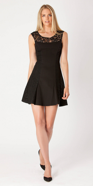 Black Short Sleeve A Line Lace Dress