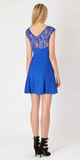 Blue Short Sleeve A Line Lace Dress