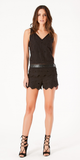 Black Embroidered Cotton Tank Top