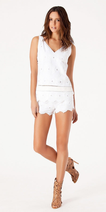 Cotton Floral Pom Pom Trim Romper