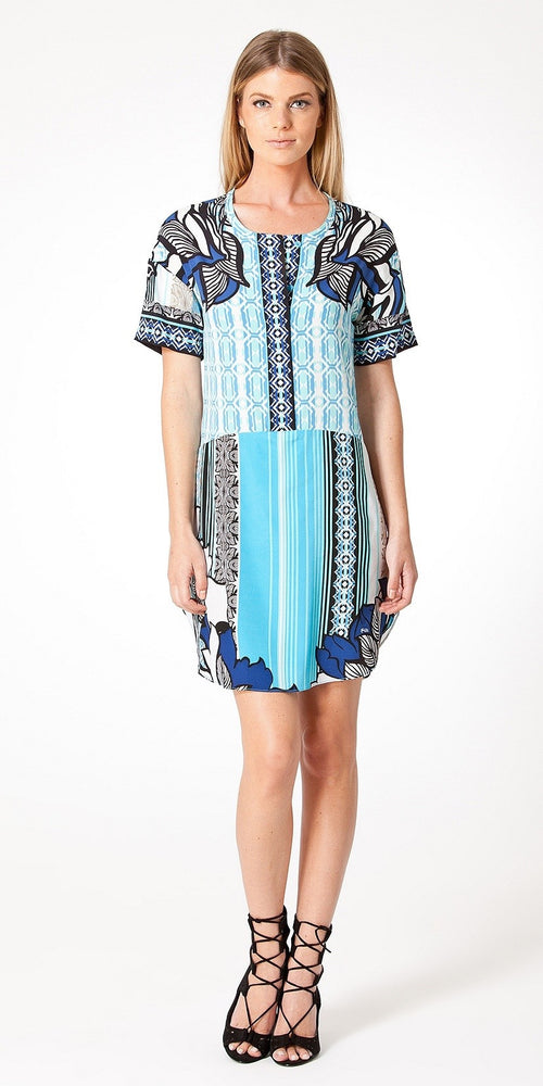 Short Sleeve Blue Printed Silk Shirt Dress