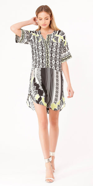 Short Sleeve Green Black Printed Silk Shirt Dress