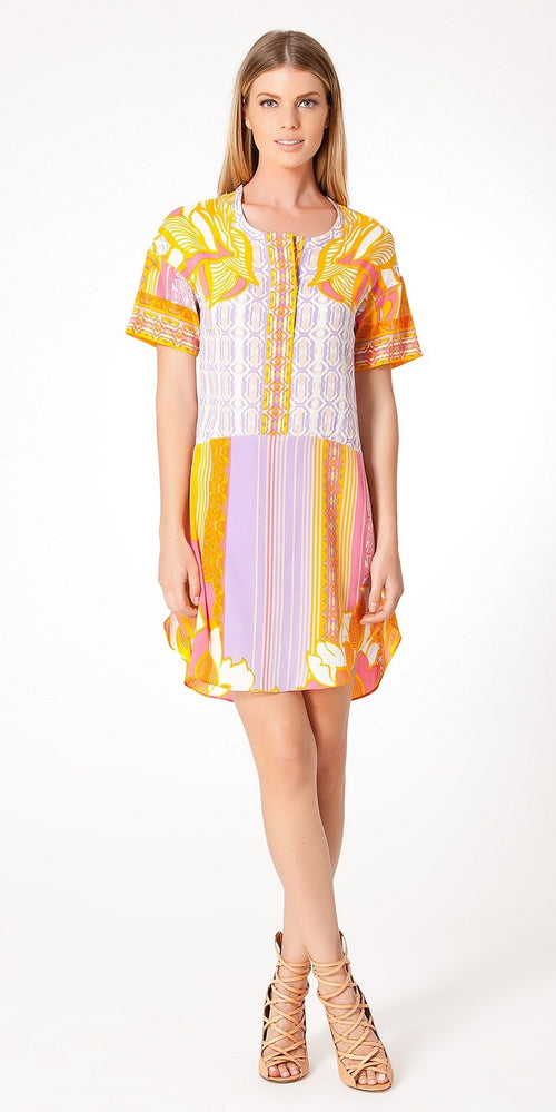 Short Sleeve Pink Printed Silk Shirt Dress