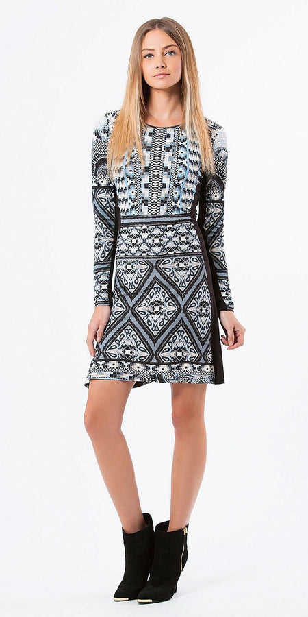 Printed Jacquard A Line Dress