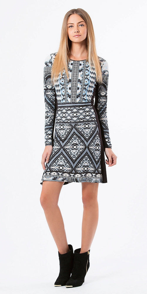 Long Sleeve Black & Blue Printed A Line Dress