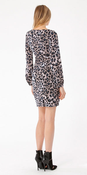 Long Sleeve Animal Print Jersey Wrap Dress