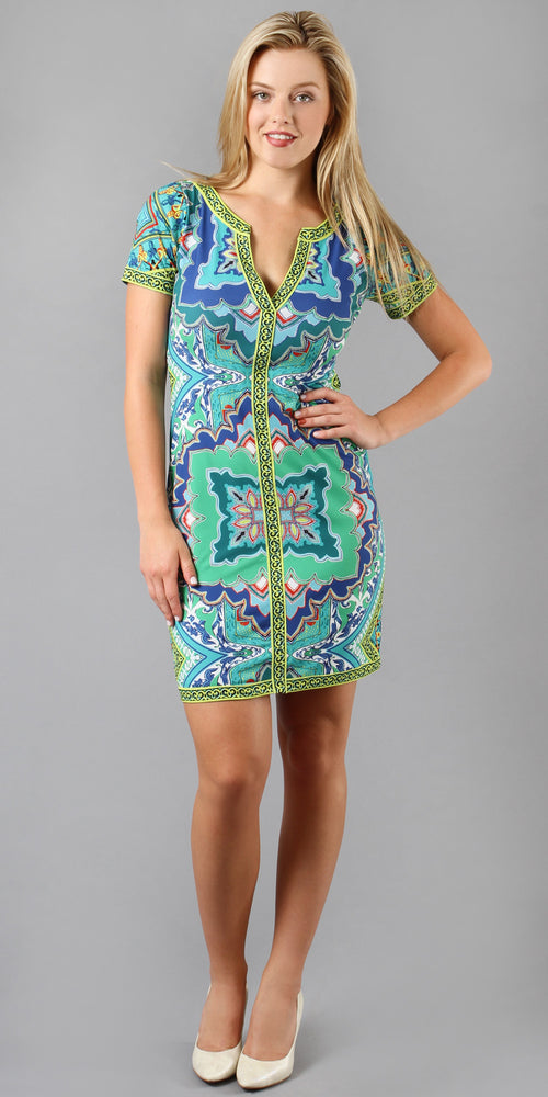 Short Sleeve Teal Printed Jersey Shift Dress