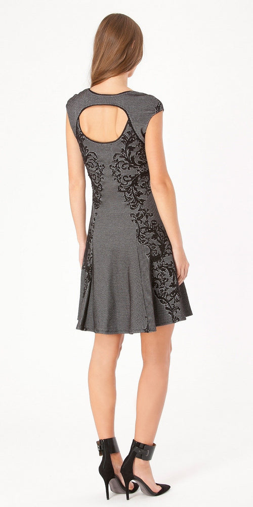 Short Sleeve Black Floral Jacquard A Line Dress