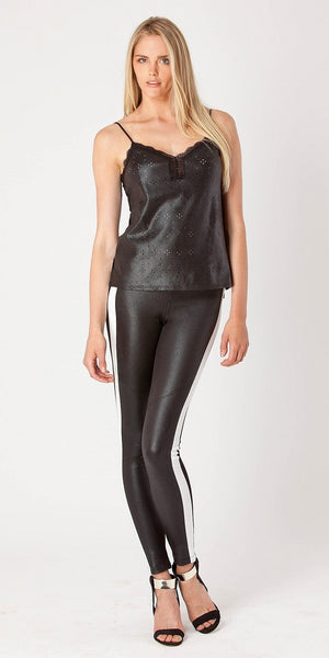 Black Laser Cut Leather Tank Top