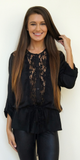 Black Lace Trimmed Satin Blouse
