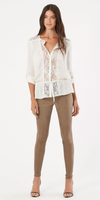 Ivory Lace Trimmed Satin Blouse