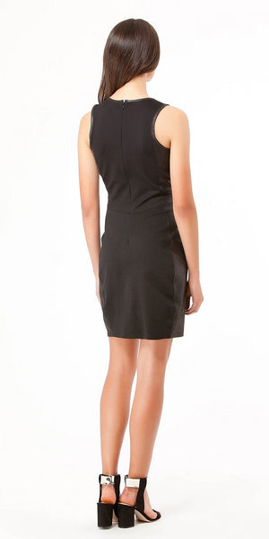Sleeveless Black Foiled Lace Sheath Dress