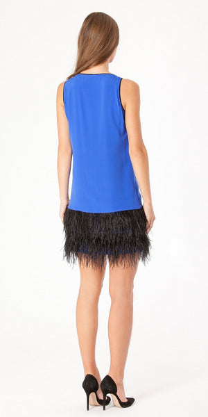 Blue Beaded Silk Feather Cocktail Dress