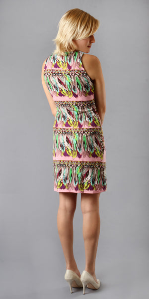 Sleeveless Pink Feather Print Jersey Dress