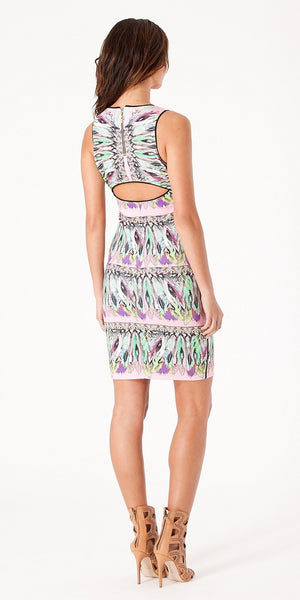 Sleeveless Pink Feather Print Fitted Dress