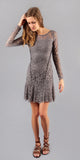 Long Sleeve Grey Floral Lace Dress