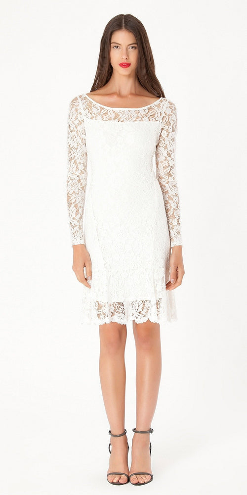 Long Sleeve Ivory Floral Lace Dress