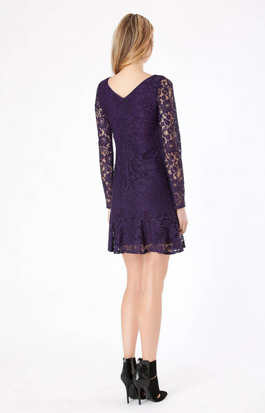 Long Sleeve Purple Floral Lace Dress