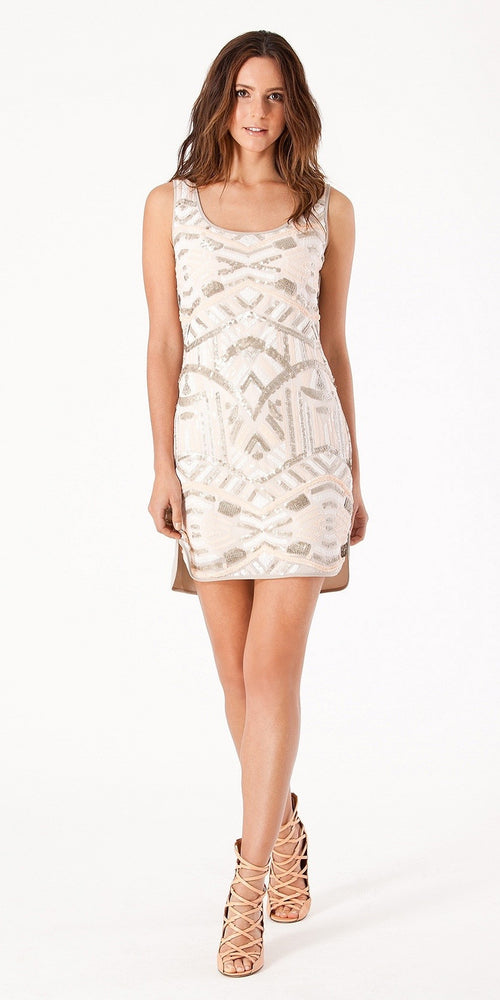 Sleeveless Ivory Sequin Dress