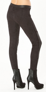 Black Zip Ultra Suede Leggings