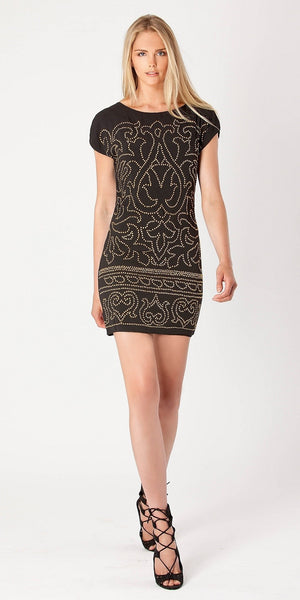 Short Sleeve Black Beaded Jersey Dress