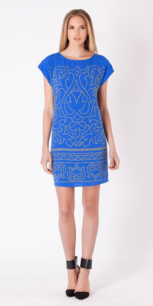 Short Sleeve Blue Beaded Jersey Dress