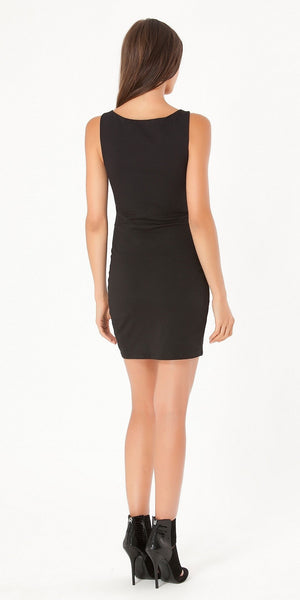 Sleeveless Black Studded Ponte Dress