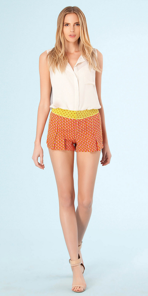 Coral Orange Geo Print Pleated Silk Shorts