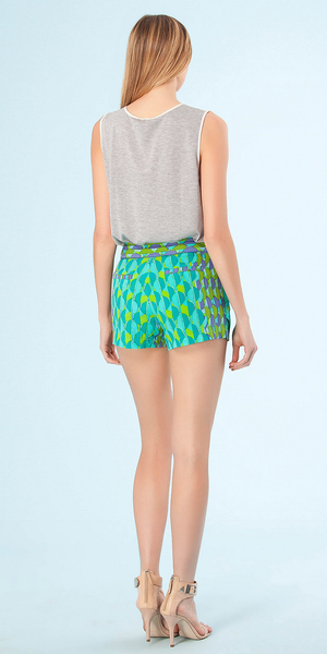 Green Geo Print Pleated Silk Shorts