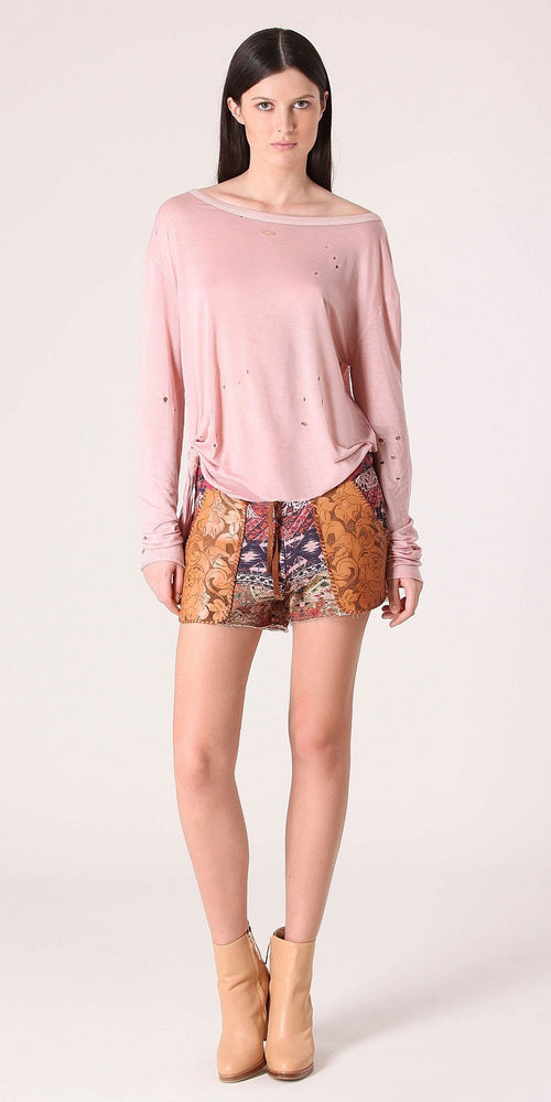 Floral Embossed Terry Shorts