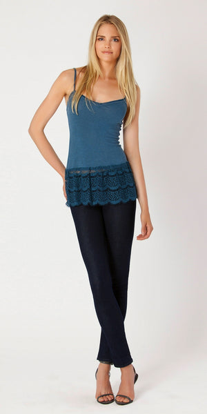 Blue Lace Trimmed Knit Tank Top