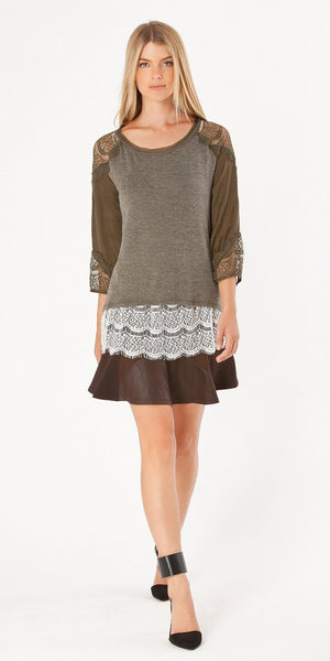 Brown Suede & Leather Mini Skirt