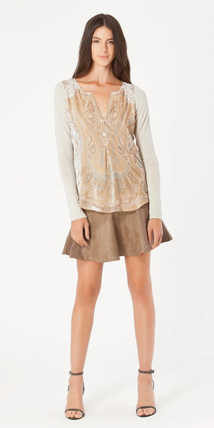 Taupe Suede & Leather Mini Skirt