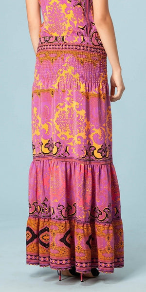 Purple Floral Print Silk Crepe Maxi Skirt