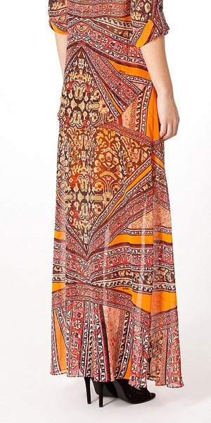 Orange Printed Chiffon Maxi Skirt