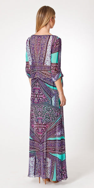 Purple Printed Chiffon Maxi Skirt