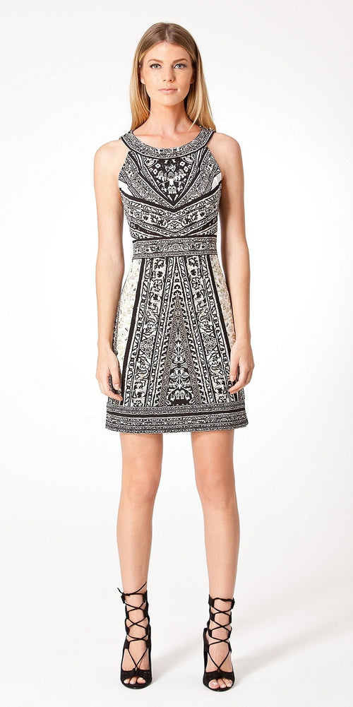Sleeveless Black & White Printed Jersey Dress